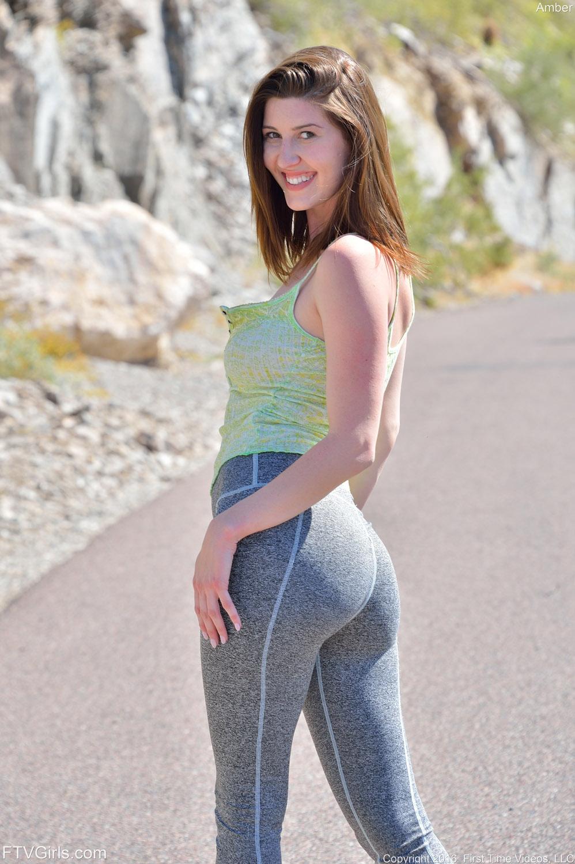 Sexy cute redhead jogger 6