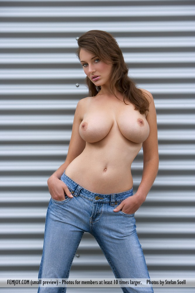 topless jeans girls Nude blue in