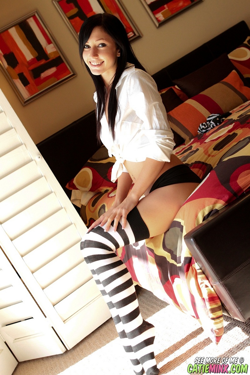 White in naked teen black striped stockings and