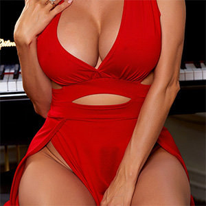 Alexis Fawx Takes Off Her Red Dress