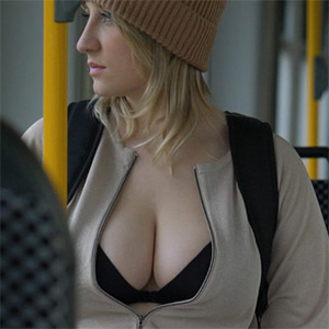 Busty Blonde Cleavage Bus Ring 360