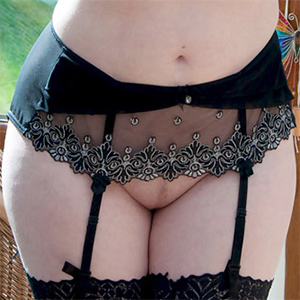 Rachel C Black Lace and No Panties