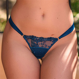 Stacey Robyn Strips Out Of Her Blue Thong